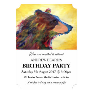 Grande arte abstrata colorida do urso convite 12.7 x 17.78cm