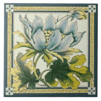 Grande azulejo floral azul de Repro do Victorian
