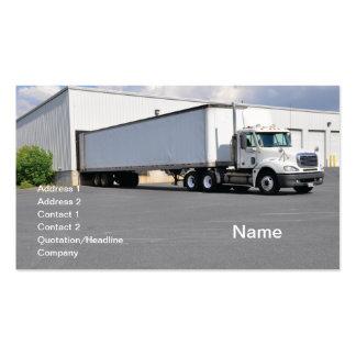 grande caminhão pela doca de descarregamento cartão de visita