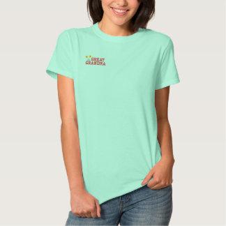 Grande camisa bordada da avó flor camiseta polo bordada feminina