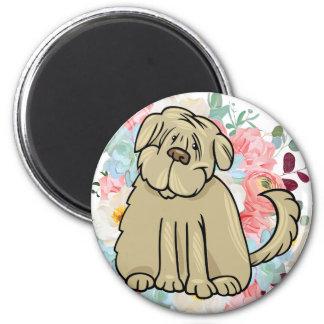 Grande cão macio com flores imã