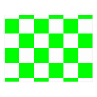 Grande Checkered - verde branco e elétrico Cartão Postal