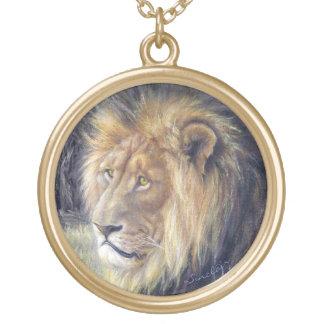 Grande colar Goldtone redonda do leão