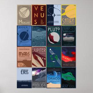 Grande coleção do poster da viagem espacial
