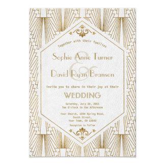Grande convite de casamento do branco do ouro do