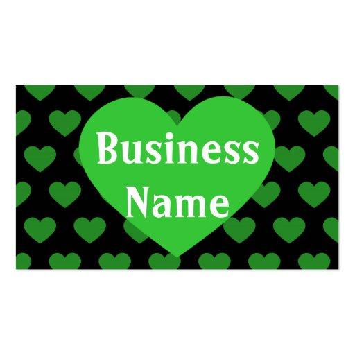 Grande coração verde-claro & fundo preto modelo cartão de visita