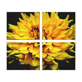 Grande dália amarela impressão em tela