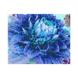 Grande dália azul impressão em tela