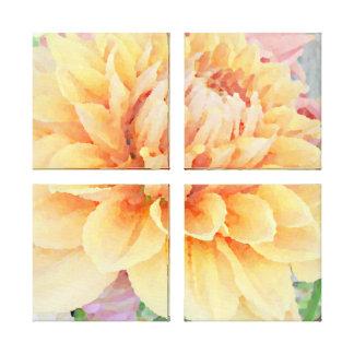 Grande dália Pêssego-Alaranjado-Amarela Impressão Em Tela