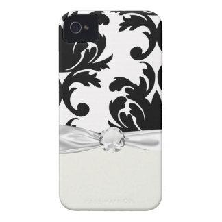 grande damasco corajoso branco e preto capas para iPhone 4 Case-Mate