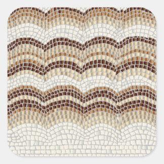 Grande etiqueta quadrada lustrosa do mosaico bege