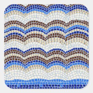 Grande etiqueta quadrada Matte do mosaico azul