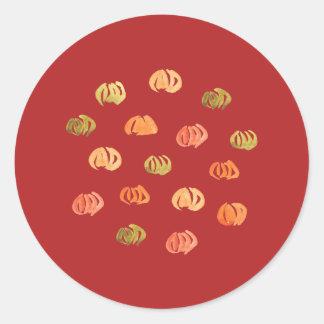 Grande etiqueta redonda lustrosa da abóbora