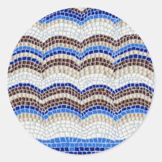 Grande etiqueta redonda lustrosa do mosaico azul