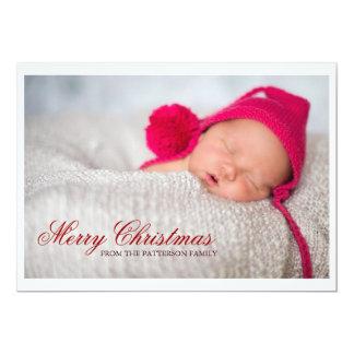 Grande foto do Feliz Natal com listras Convite 12.7 X 17.78cm