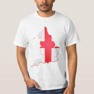 Grande impressão da bandeira do mapa de Inglaterra Camisetas