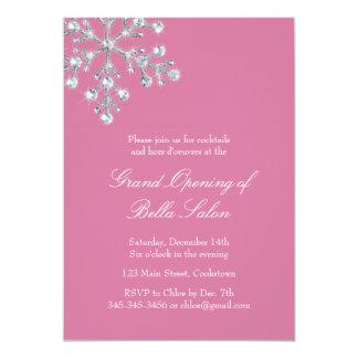 Grande inauguração cor-de-rosa o floco de neve de convite 12.7 x 17.78cm