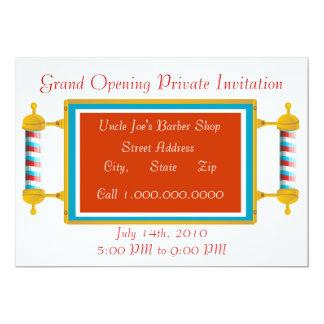 Grande inauguração da barbearia convite 12.7 x 17.78cm