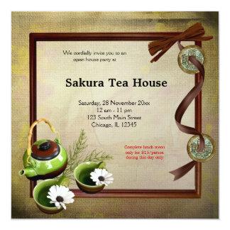 Grande inauguração da casa de chá convite quadrado 13.35 x 13.35cm