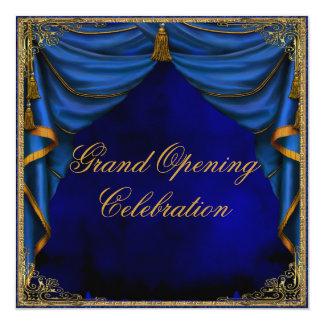 Grande inauguração da empresa do ouro dos azuis convite quadrado 13.35 x 13.35cm