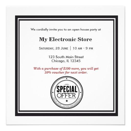 Grande inauguração da oferta especial convites personalizado