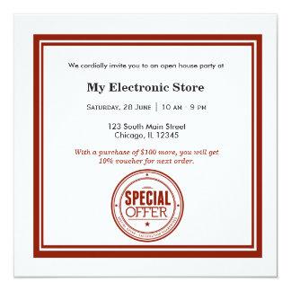 Grande inauguração da oferta especial convite personalizado