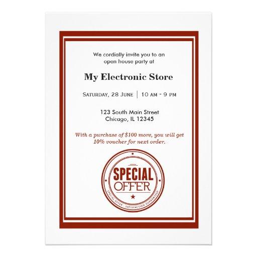 Grande inauguração da oferta especial convite personalizados