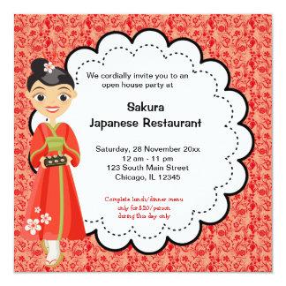 Grande inauguração japonesa convite quadrado 13.35 x 13.35cm