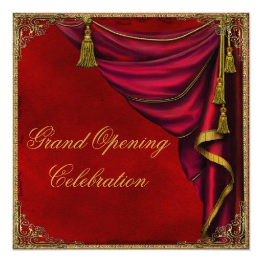 Grande inauguração vermelha da empresa do ouro convite personalizado