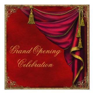 Grande inauguração vermelha da empresa do ouro convite quadrado 13.35 x 13.35cm