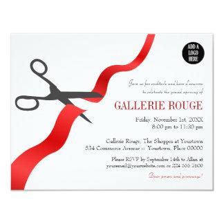 Grande inauguração vermelha simples do corte da convite 10.79 x 13.97cm
