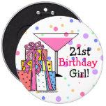 Grande menina do aniversário de 21 anos botons