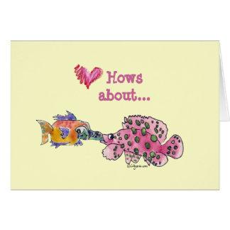 Grande molhe peixes dos desenhos animados do beijo cartão comemorativo