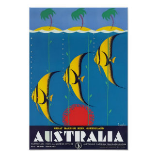 Grande poster das viagens vintage de Austrália do