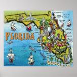 Grande poster do mapa dos desenhos animados de Flo