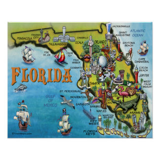 Grande poster do mapa dos desenhos animados de Flo Pôster