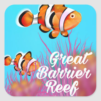 Grande poster dos desenhos animados dos peixes do adesivo quadrado