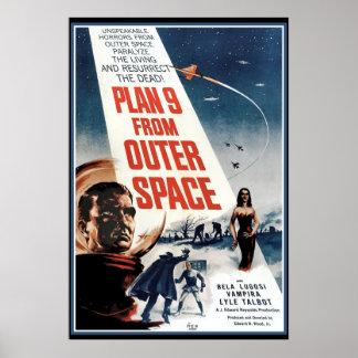 Grande poster vintage - filme velho do espaço pôster