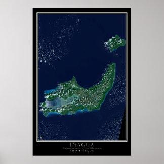 Grande & pouco Inagua Bahamas do satélite do Pôster