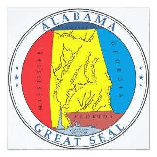 Grande selo de Alabama Convite Quadrado 13.35 X 13.35cm