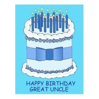 Grande tio feliz aniversario cartão postal