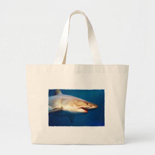 Grande tubarão branco bolsa para compras
