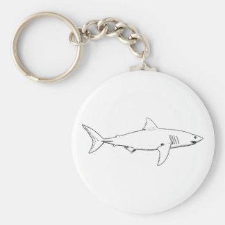 Grande tubarão branco (linha arte) chaveiro