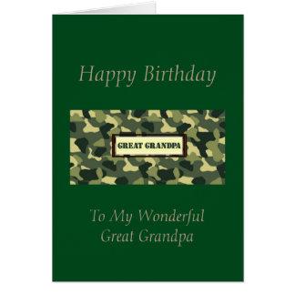 Grande vovô do feliz aniversario - Camo Cartão Comemorativo