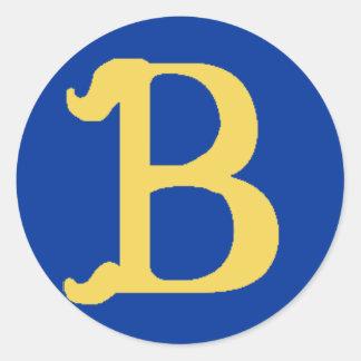 Grandes etiquetas Monogrammed com a letra B Adesivo Em Formato Redondo