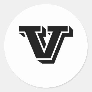 Grandes etiquetas redondas da letra principal V Adesivo Redondo
