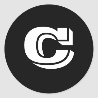 Grandes etiquetas redondas principais da letra C Adesivos Redondos