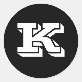 Grandes etiquetas redondas principais da letra K Adesivo