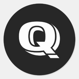 Grandes etiquetas redondas principais da letra Q Adesivos Redondos