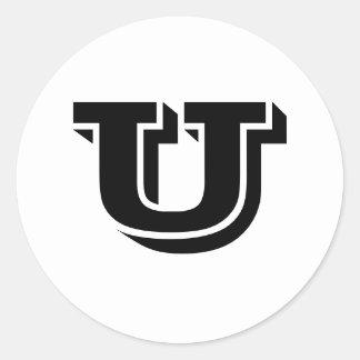 Grandes etiquetas redondas principais da letra U Adesivos Em Formato Redondos